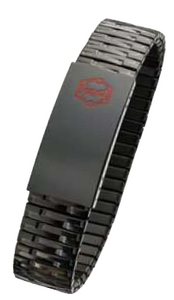Black Steel Medical Data  Expansion Bracelet