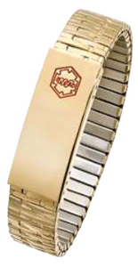 Gold-Tone Stainless Steel Medical Data  Expansion Bracelet