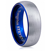 Load image into Gallery viewer, Tungsten Band with blue edges and inside  8mm Width