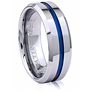 Tungsten Ring with Blue Strip  8mm Wide