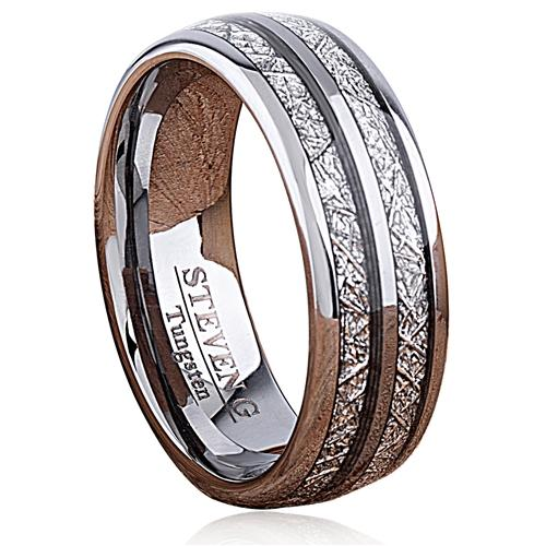 Man Made Meteorite Tungsten Band