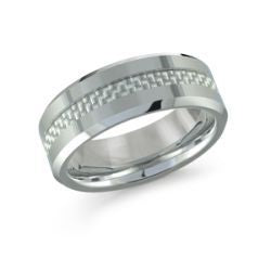 Tungsten Band with Clear Carbon Fiber