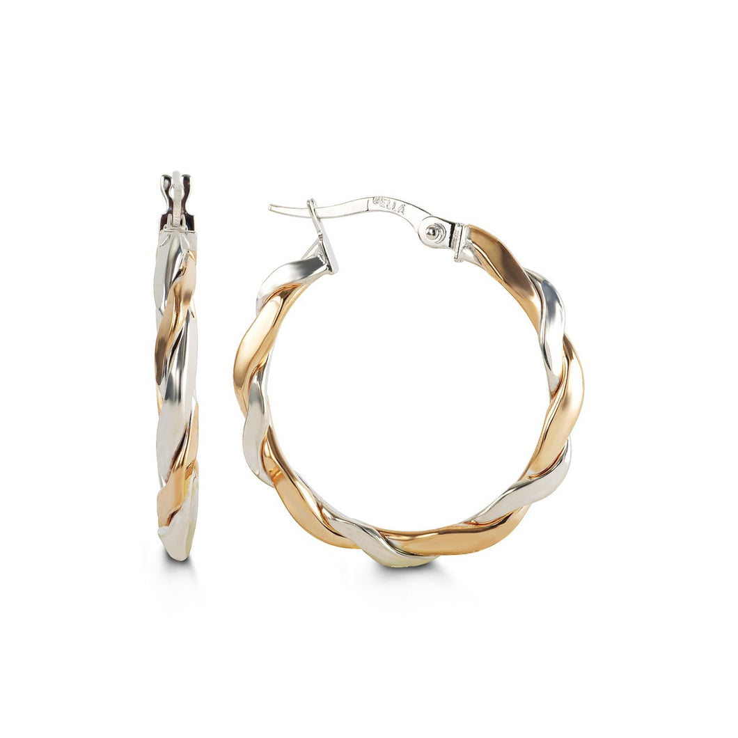 2 Tone Twisted Bella Hoops 10K Pink and White Gold