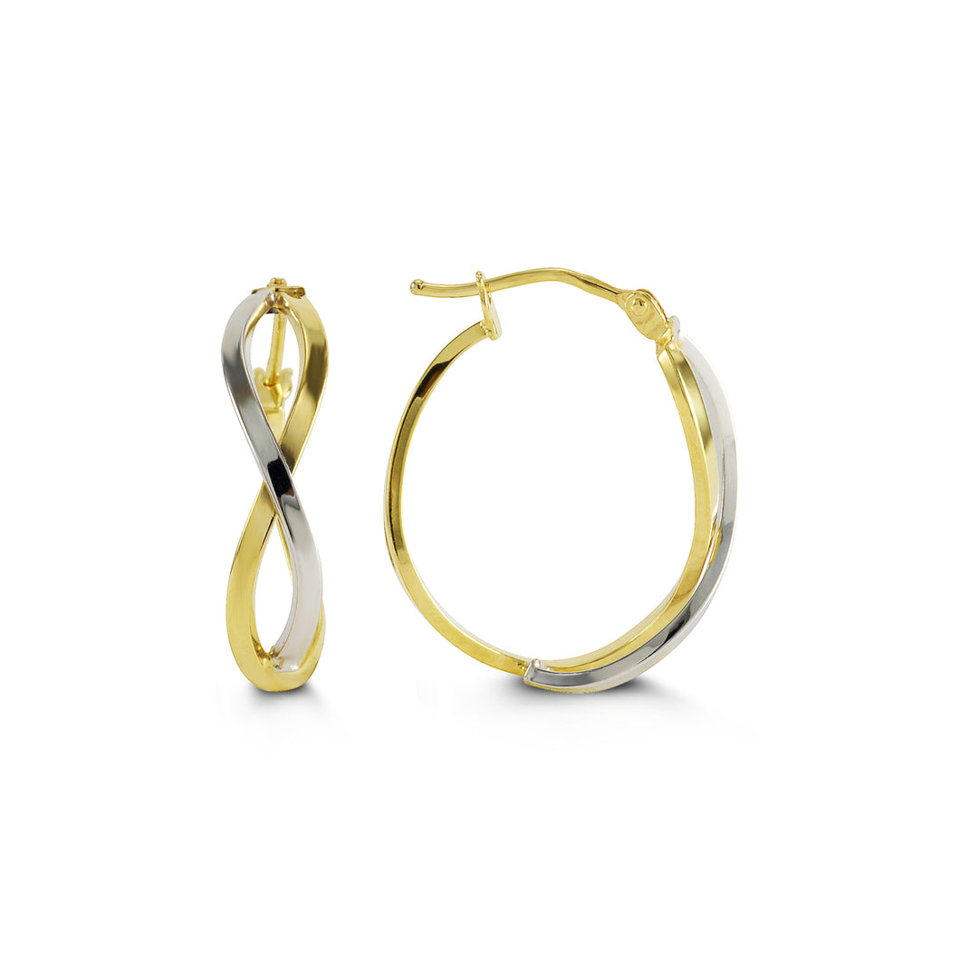 Two-Tone Crossover Hoops  Hollow 10k Yellow and White Gold