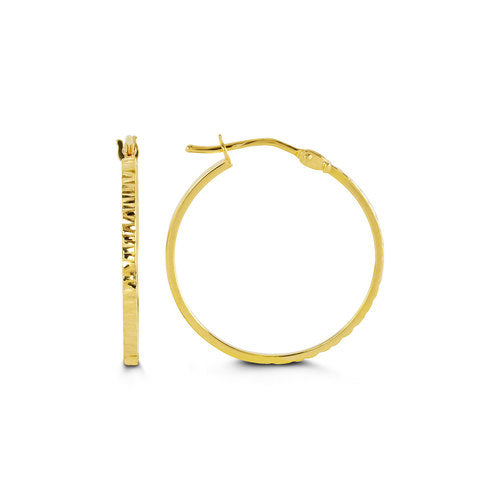 Hollow 10k Yellow Gold  Yellow Gold Basic Hoops with Texture  24mm