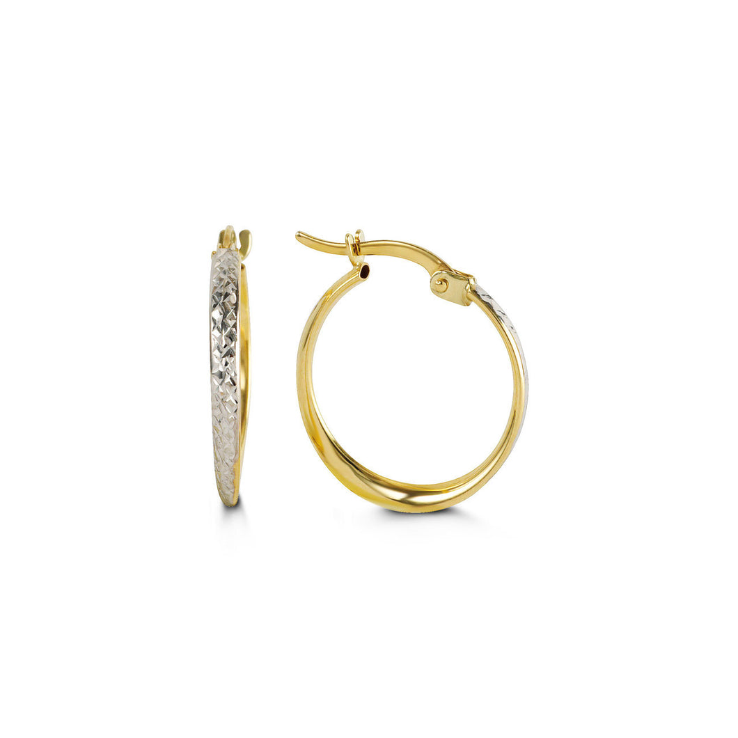 Two-Tone Diamond-Cut Hoops  Hollow 10k Yellow and White Gold  20mm