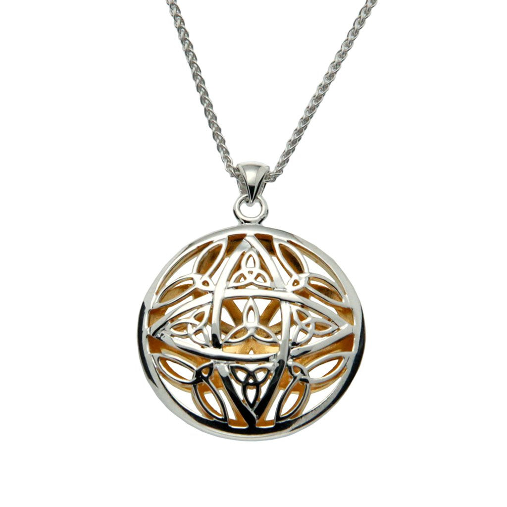 silver and 22k yellow gold gilded double sided trinity pendant, with chain