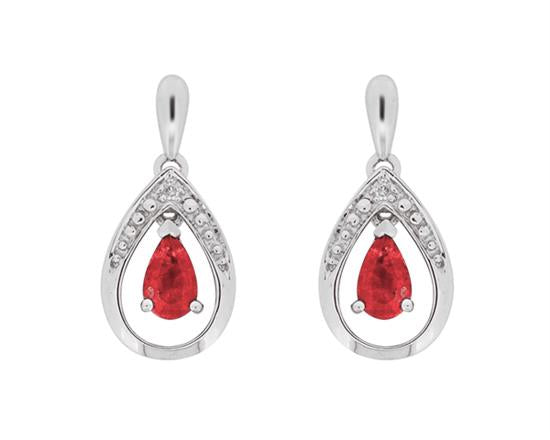 Ruby and Diamond Drop Post Earrings 10K White Gold