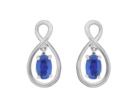 Sapphire Drop Post Earrings 10K White Gold