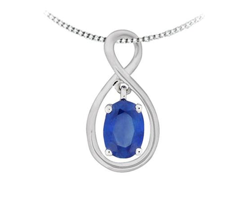 Saphire Pendant with chain 10K White Gold