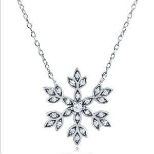 Silver Necklace Snowflake With CZ