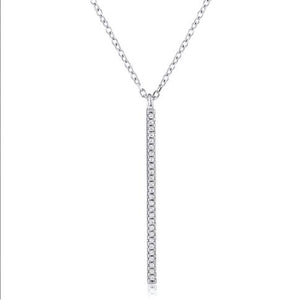 Silver CZ Bar Pendant With Chain