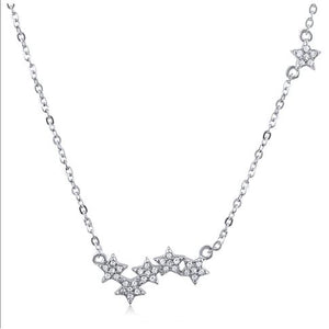 Silver Stars Necklace With CZ