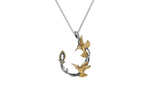 silver and 10k yellow gold hummingbird pendant with marquis White topaz