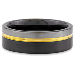 Black And Grey With Gold Tone Tungsten Band