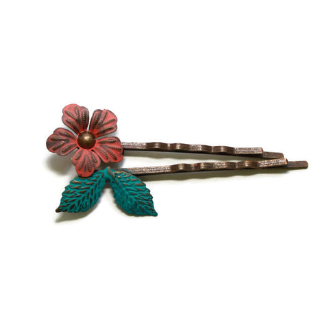 Gleeful Peacock - Perfect Bloom Hair Pins - Pair of 2 pins in 4 Color Choices