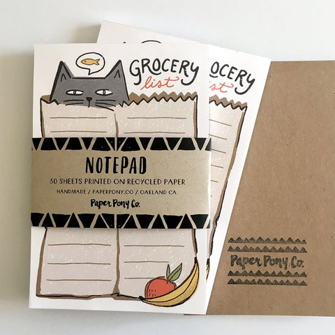 Paper Pony Co. - Bagged Cat Grocery List Notepad
