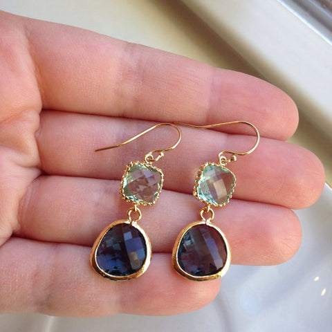 Laalee Jewelry - Sapphire Navy Prasiolite Glass Gold Plated Earrings
