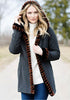 Black Faux Fur-Trimmed Storm Coat
