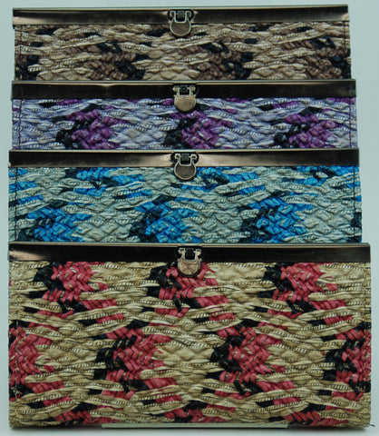 Twin Colored Weave Design Clutch Wallet