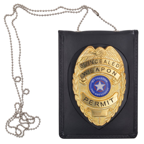 Genuine Leather Neck Chain Badge And ID Holder 2523TABK