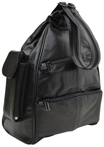 Large New Black Genuine Leather Zippered Backpack Style Purse Cross Body Bag 128 970
