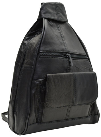 Women's Leather Zippered Backpack Style Purse Black New 128 Y 13