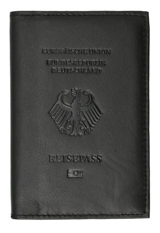 Genuine Leather Passport Wallet Credit card Holder with British Emblem Embossed for International Travel 601 BLIND UK