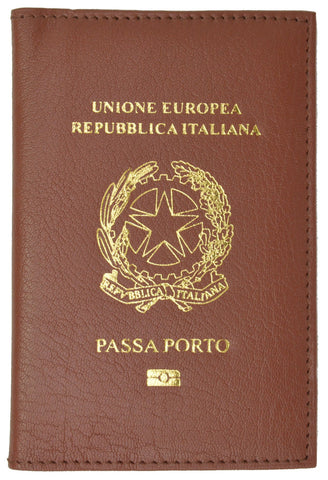 Italy Passport Wallet with Credit Card Holder Genuine Leather Passport Cover with Italy Emblem Imprint Passaporto 601 Italy