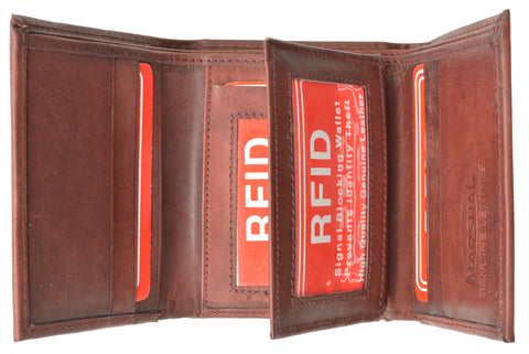 Marshal® Mens Trifold Leather Wallet RFID Blocking RFID 1107