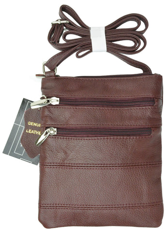 Women's Genuine Leather Shoulder Bag with 4 zipper compartments and adjustable strap # RM 515