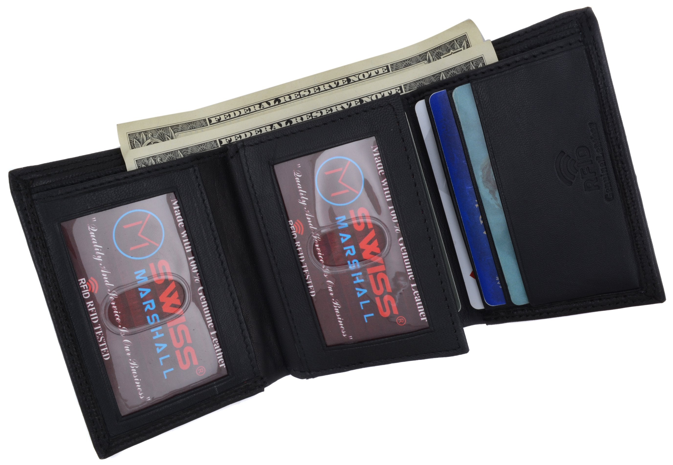 Mens Trifold Genuine Leather Wallet RFID Blocking Black New Marshal Wallets!