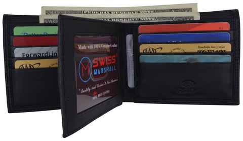 Men's RFID Blocking Premium Leather Bifold Multi-Card Compact Center Flip Wallet by Swiss Marshall RFID510052