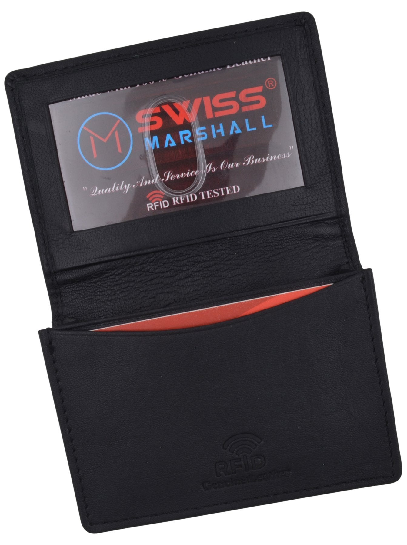 c6797f2d40b Next. Swiss Marshall Men's RFID Blocking Premium Leather Expandable Small  Credit Card ID Business Card Holder Wallet