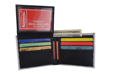 Mexico 1000 Pesos Men's Genuine Leather Bifold Multi Card ID Center Flap Wallet 1246-23