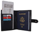 Leather Black Passport Holder Cover Case Wallet USA Embedded Logo Travel U.S Wallets  1051 USA-[Marshal wallet]- leather wallets