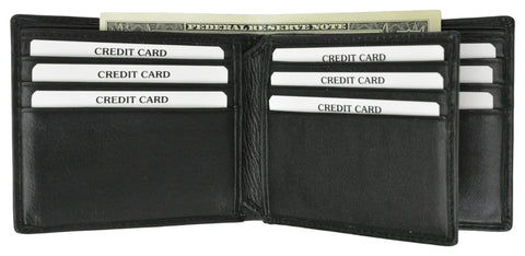 New 100% Leather Men's Multi Credit Card Compact Center Flip ID Bifold Wallet 600 052 BK
