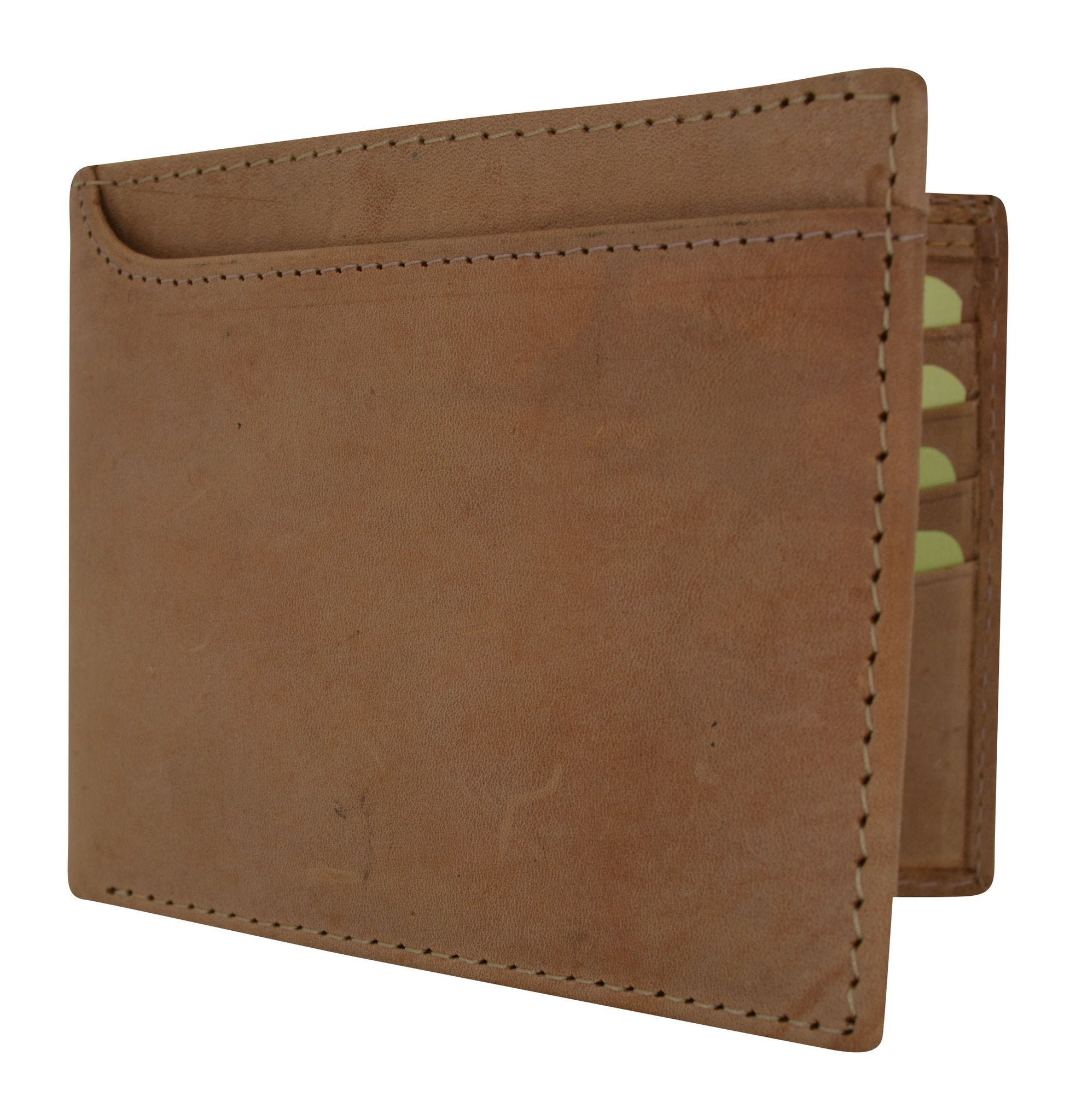 Premium Leather Mens Bifold With Removable Front Card ID Holder Wallet Black Tan