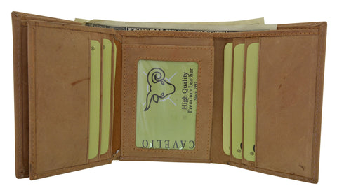 HU1107/New Hunter Series Premium Leather Vintage Style Trifold Credit Card Holder Walle by Cavelio
