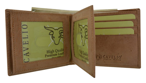 HU1852/New Cavelio Hunter Premium Leather 2 Center Flaps 2 ID Windows Card Holder Bifld Wallet