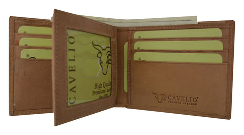 HU52/New Cavelio Hunter Vintage Style Series Premium Leather Fixed Center Flap Credit CID Holder Bifold Wallet