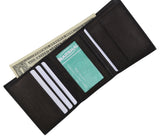 K300 (C)/Small Children Black ID Card Holder with Coin Pocket Trifold Genuine Leather Wallet Kids