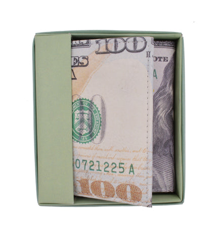 $100 Bill Men's Genuine Leather Credit Card ID Holder Trifold Wallet with Middle Flap 1346-16