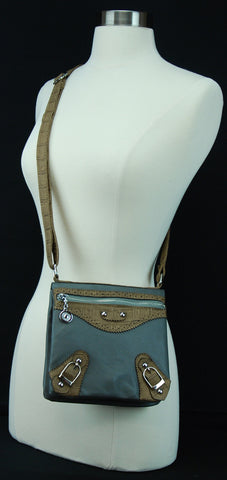 Zippered Cross Body Leather Bag With Adjustable Belt 2941