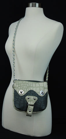 Luxurious Leather Zippered Cross Body Bag Adjustable Strap Dark Grey 9016