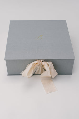 Luxury Gift Box | Grey linen with ribbon