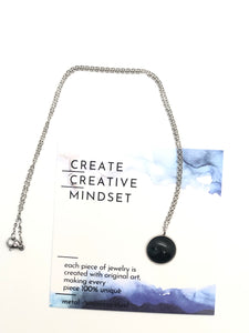 Necklace - Grey & Black - Silver - 14MM