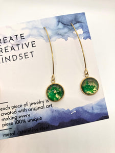 Long Drop Earrings - Green & Gold - Gold- 12MM