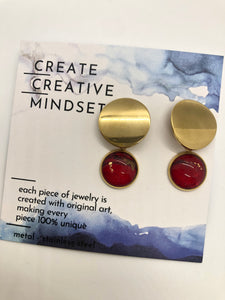 Circle Earrings - Gold & Red - Gold- 14MM