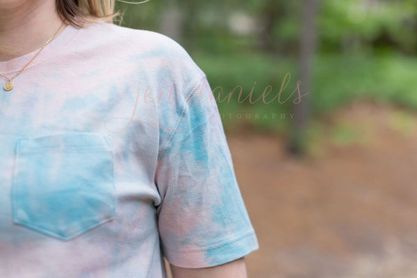 Iced Tie Dye Ribbed Tee - Pink & Blue - S